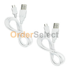 2 USB White Micro Data Sync Charger Cable for Samsung Rugby 4/LG G4/HTC One M9