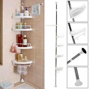 4 Layer Bathroom Shower Bath Caddy Corner Storage Rack Wall Shelf Pole Organizer