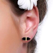 Black Onyx Gemstone 18K Gold Plated 925 Sterling Silver Stud Earrings Jewelry