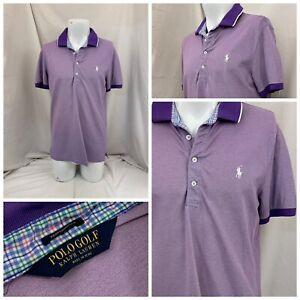 Polo Golf Ralph Lauren Shirt M Purple Cotton Blend Short Sleeve YGI V1-425