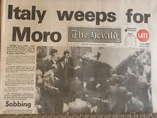 HISTORICAL NEWSPAPER The Herald Italy Weeps For Moro 10-5-1978 Combined Postage