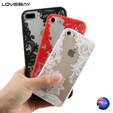 For iPhone 8 7 6 Plus 5 SE Luxury Lace Flower Pattern Hybrid Acrylic Case Cover