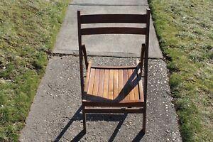 Vintage Mid Century Modern Folding Wood Slat Chair #2 Made In Romania