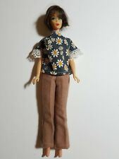 Vintage Barbie Navy & Gold Daisy Print Top & Beige Wool Pant Outfit  - NO DOLL