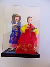 Korean Couple Dolls Figurines With Traditional Attire In Acrylic Case