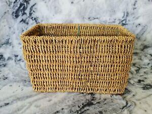 Rectangular Woven Seagrass Storage Basket Container Planter 26cm x 15cm x 17cm