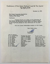 Vintage Letterhead, Conference of New Jersey Railroad Land & Tax Agents, NY 1953