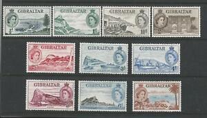 GIBRALTAR QEII 1953 SET TO 1/-  M/MINT SG;145/54 Cat £33