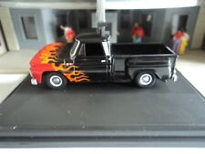Oxford 1965 CHEVROLET STEPSIDE PICKUP Black w/ Flames  1/87  HO diecast car GM