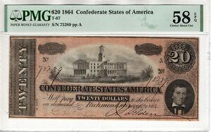1864 $20 CONFEDERATE STATES OF AMERICA NOTE CURRENCY T-67 PMG CHOICE AU 58 EPQ