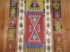Vintage Turkish Anatolian Oushak Ushak Kilim Rug Runner Size 3'x16'7''