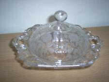 RARE Cambridge Glass ROSELYN Etched Pattern Round Handled BUTTER DISH & COVER