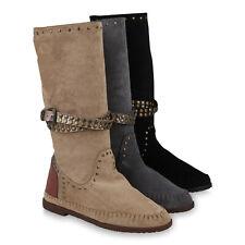 Damen Stiefel Mokassins Schlupfstiefel Keilstiefel Nieten 823770 Schuhe