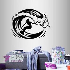 Wall Vinyl Decal Surf Surfing Girl Woman Surfer Ocean Beach Extreme Sports 275