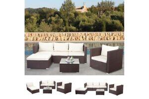 Polyrattan Loungegruppe Lounge Outdoor Sofa Couch Sitzgruppe Gartensofa braun