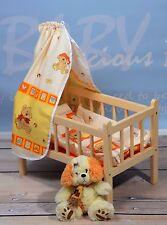 Puppenbett Komplett Set Kissen Decke Bettlaken Himmel  Massivholz-gesund Angebot