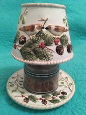 Yankee Candle Small Jar Candle Shade & Plate• Birds & Pinecones/Berries