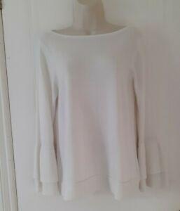 Mint Velvet Womens Jumper Fluffy Layered Sleeved Light Knit White Sz 12~Immacul
