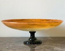 """Vintage Schneider French Art Deco Glass Impressive 14"""" Footed Centerpiece Bowl"""
