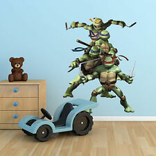 Teenage Mutant Ninja Turtles TMNT Multi Colour Wall Art Sticker Boy Bedroom Hero