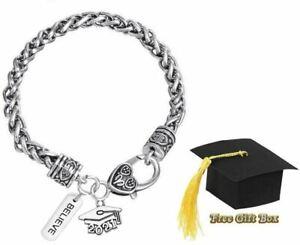 Graduation Grad Graduate Custom Class of 2021 Silver Charm Bracelet w/ Gift Box