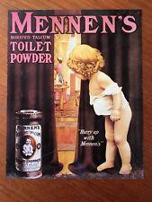 Vintage plaque publicitaire année 1980 Mennen's toilet Powder Made USA