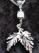 Silver Tone Oak Leaf & Acorn Necklace White Jade Gemstone Druid Pagan Hedgewitch