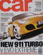 CAR magazine march 03/2000 featuring Porsche 911 Turbo, Mitsubisi Evo, BMW