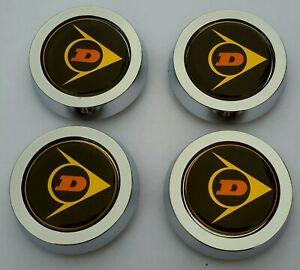 DUNLOP D1 REPLACEMENT CHROME CENTRE CENTER CAPS x4 (NOT O/E/M) CLASSIC ALLOYS