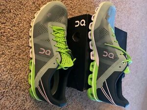 Mens ON Cloudflow Moss/Lime Running Shoes Size 12.5 Excellent Condition