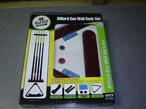 Fat Cat Billiard Pool Stick Cue Wall Rack Set, Brush Triangle Chalk  FREE S&H