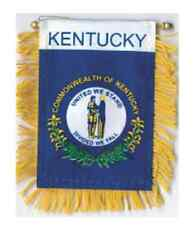 """KENTUCKY MINI BANNER FLAG 4 x 6"""" with BRASS STAFF & SUCTION CUP  - NEW"""