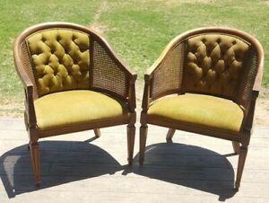 Pair of Vintage Mid Century Barrel Back Tufted Cane Chairs w Green Stripe Fabric