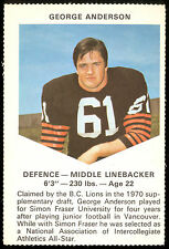 1971 CHEVRON TOUCHDOWN CARDS CFL FOOTBALL B C LIONS GEORGE ANDERSON NM VANCOUVER