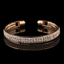 18K GOLD PLATED BANGLE MADE WITH CLEAR SWAROVSKI CRYSTALS  BRACELET GIFT GPB