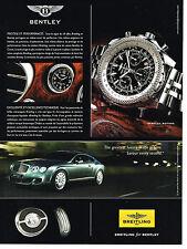 PUBLICITE ADVERTISING 114  2008  BREITLING  for BENTLEY   montre