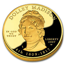 2007-W 1/2 oz Proof Gold Dolley Madison (w/Box & Coa) - Sku #32823