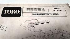 """1982  TORO GROUNDSMASTER 72"""" DIESEL Factory Parts Boiok"""