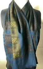 Vintage Fine Wool Foulard Blue & Khaki Long Scarf, Double Bagged Unisex 28x120cm