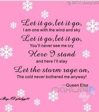 Let it go lyrics Disney Frozen Elsa snowflake Wall Decals Sticker Kids Decor Art