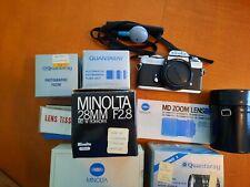 Minolta XD11 35 mm film camera with flash  3 lenses and more
