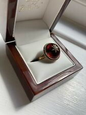 More details for antique 22 carat gold, garnet cabochon ring with pearly setting