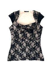 Jane Norman Black Lace Women Top Cream Beige Elegant Night Shirt Size M EU 36