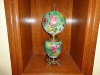 Antique Gone With The Wind Fluid Oil Lamp, Hand Painted In Original Condition!!