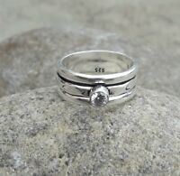 Crystal Stone Solid 925 Sterling Silver Meditation Ring Spinner Ring sr602