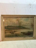 Antique Vtg 1896 Lithograph LANDING THE SALMON Fishermen Print Victorian Frame