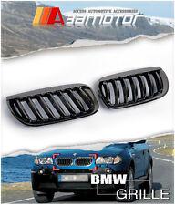 2004 2005 2006 BMW E83 X3 2.5 3.0 BLACK CHROME FRONT HOOD KIDNEY GRILLES grf5