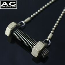 "Screw and nut pendant 28"" steel chain necklace US SELLER"