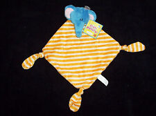 NEW Russ Kids Orange Stripe Blue Elephant Knotted Corners Baby Blanket Lovey