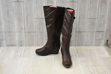 West Blvd Jakarta Faux Leather Wedge Riding Boot - Women's Size 8, Brown